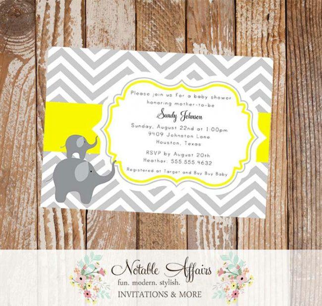 Gray Yellow Elephants Chevron Baby Shower Invitation or Birthday Invitation