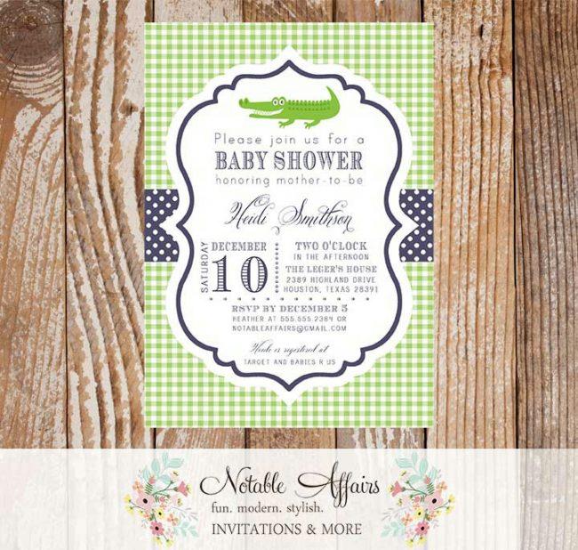 Green and Navy Gingham Alligator Gator Baby Shower or Birthday Invitation