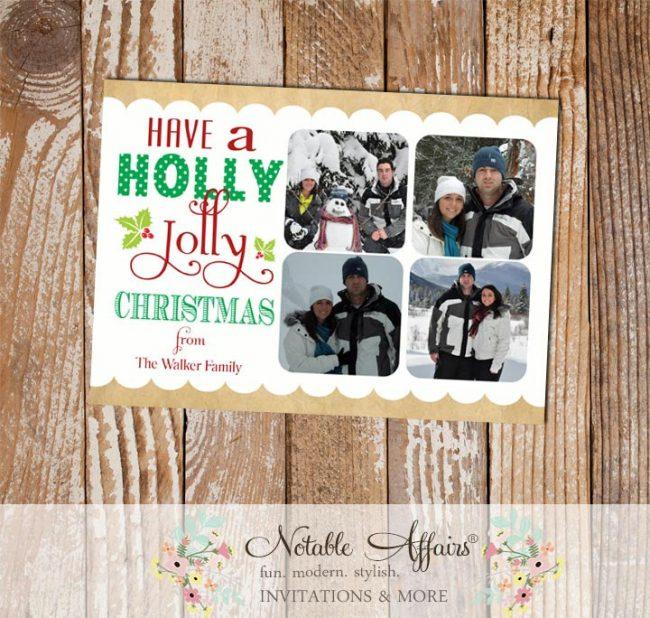 Have a Holly Jolly Christmas four Photo Card holly berry Holiday Christmas Card