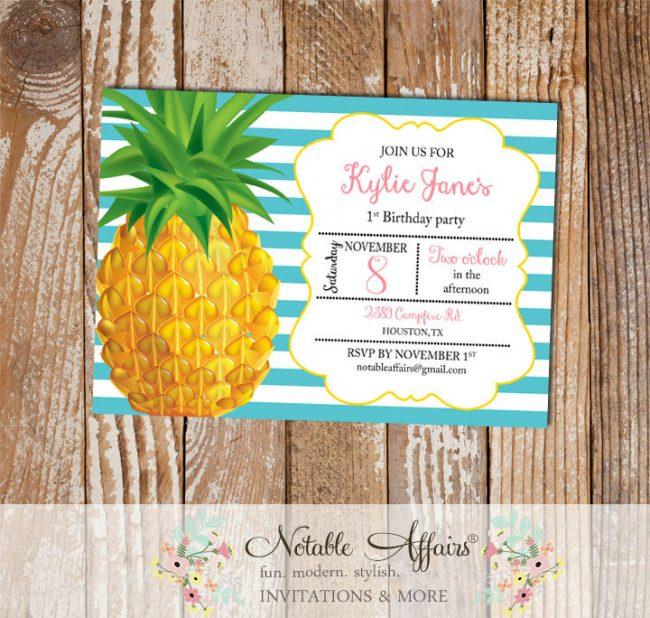 Horizontal stripes Pineapple Birthday Party Invitation