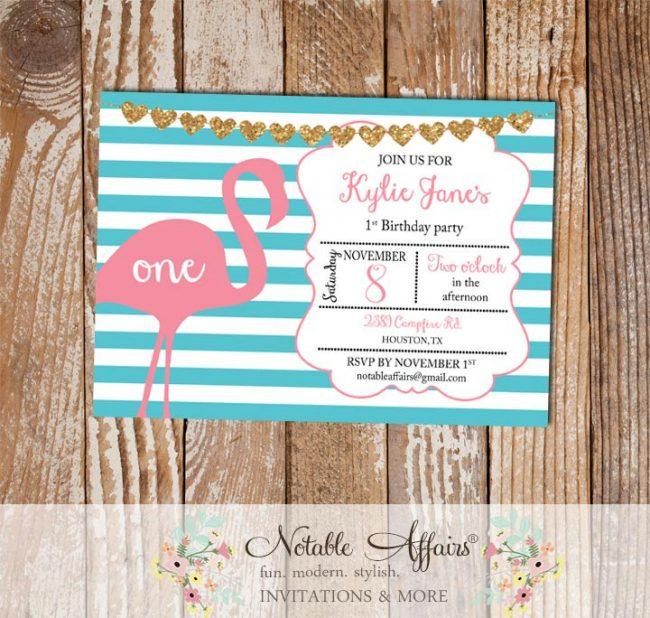 Horizontal turquoise stripes pink Flamingo glitter hearts bunting Birthday Party Invitation