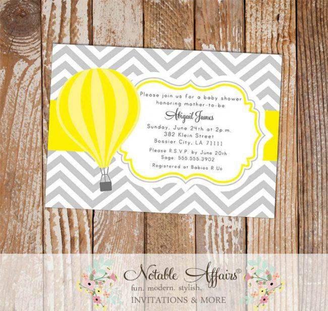 Hot Air Balloon Gray Yellow Chevron Baby Shower Gender Reveal or Birthday Invitation