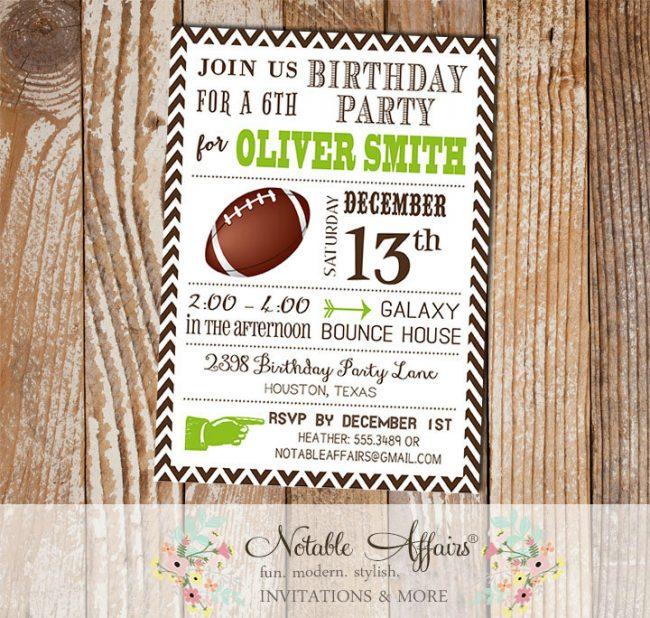 Huddle Up Brown Chevron Chartreuse Modern Football Quarterback Birthday Party Invitation
