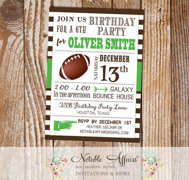 Huddle Up Brown Stripes Green Modern Football Quarterback Birthday Party Invitation