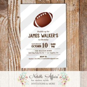 Huddle Up Super Bowl Gray Diagonal Stripes Football Quarterback Birthday Party Invitation