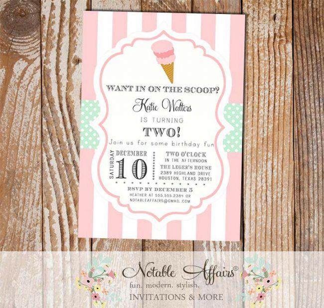 Ice Cream Cone Parlor Shoppe Birthday Party invitation
