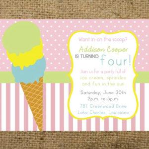 Ice Cream Icecream Cone Parlor Shoppe Party Invitation