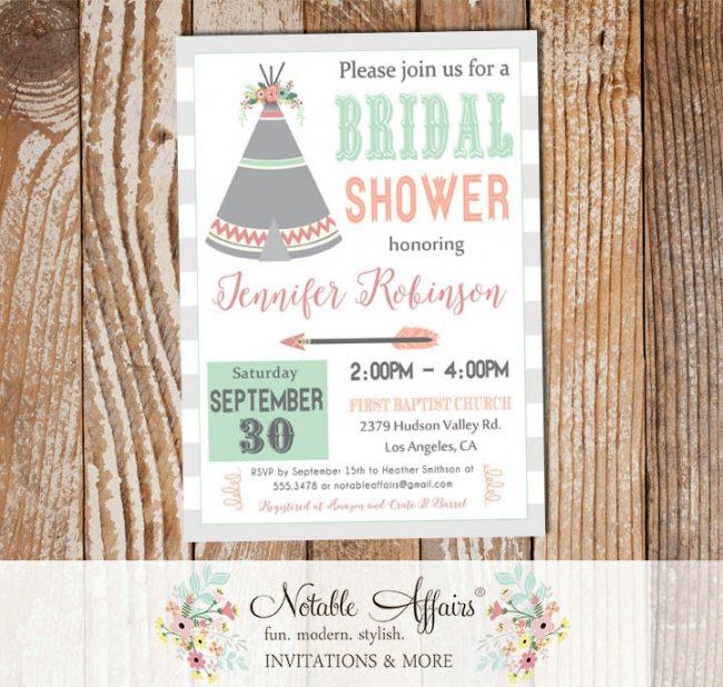 Indian pow wow Teepee Feather Arrow Bridal Shower Baby Shower Birthday invitation
