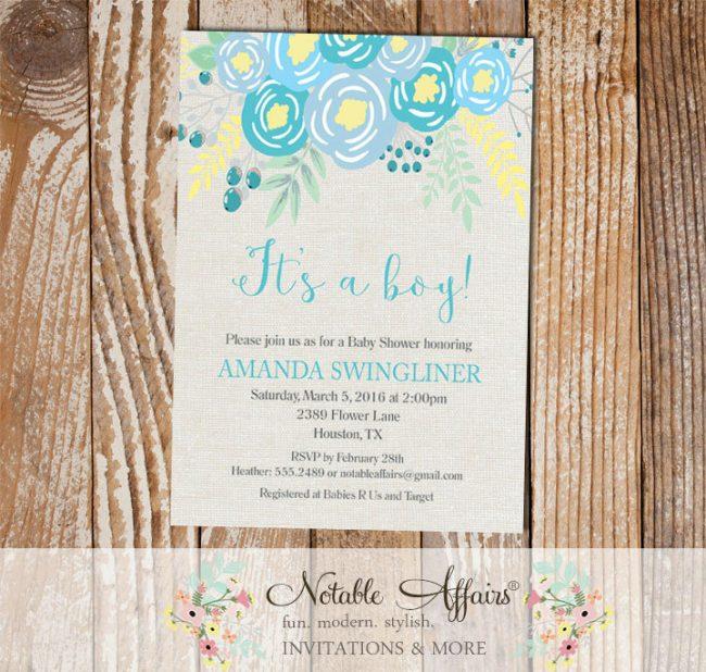 Its a Boy Blue Flowers Modern Baby Shower invitation on gray burlap background