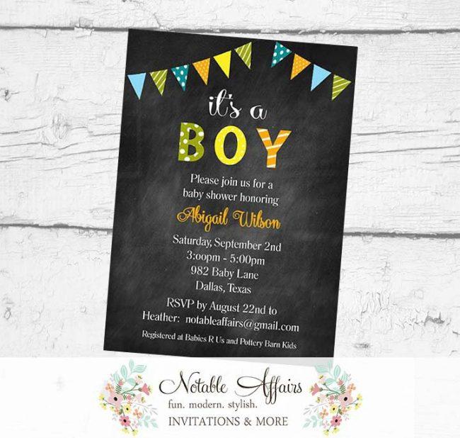 It's A Boy Bunting Baby Shower Polka Dots Stripes Invitation