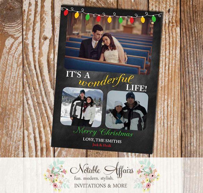 Its a Wonderful Life Chalkboard Lights Christmas Holiday Photo Card