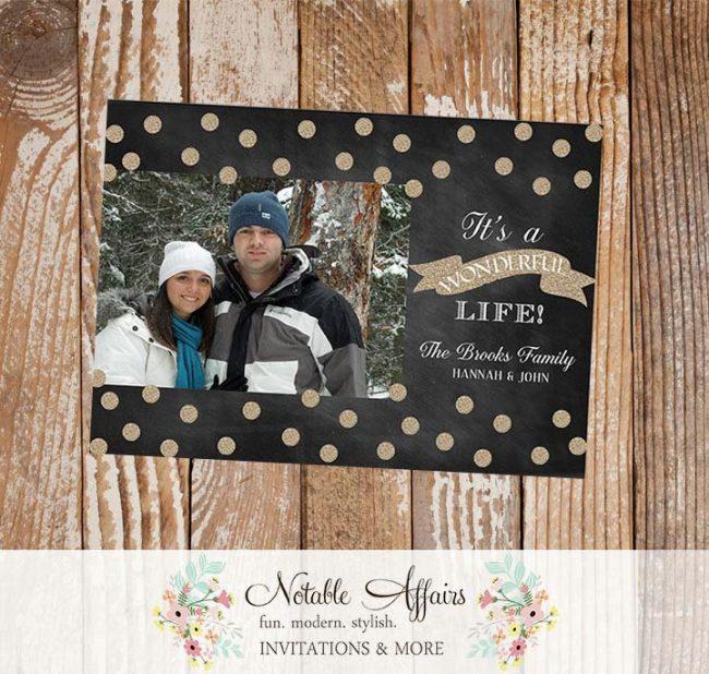 Its a Wonderful Life Glitter Sparkle Chalkboard White Christmas Holiday Photo Card