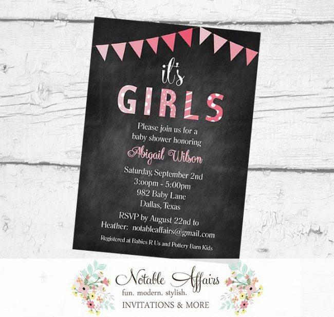 It's Girls Twins Bunting Baby Shower Polka Dots Stripes Invitation