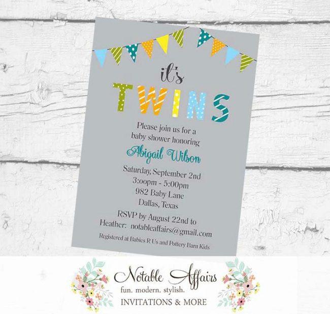 It's TWINS Boys Bunting Baby Shower Polka Dots Stripes Invitation