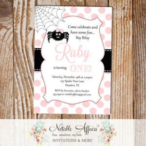 Itsy Bitsy Spider Light Pink and Black Polka Dots Vertical Invitation