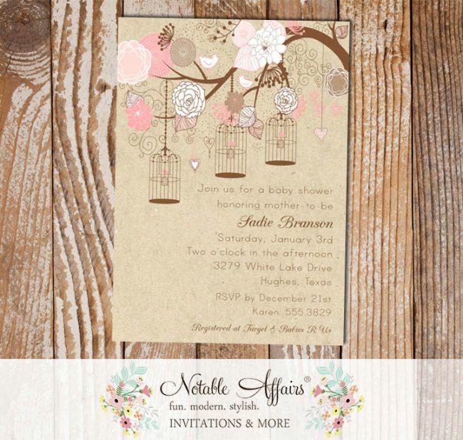 Kraft Elegant Pink Classy Flowers Floral Birds and Bird Cages Baby Shower, Bridal Shower, birthday, etc. Invitation