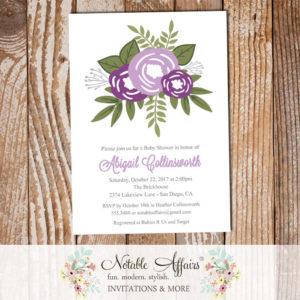 Lavender Dark Purple Flower Posie Modern Floral Baby Shower invitation