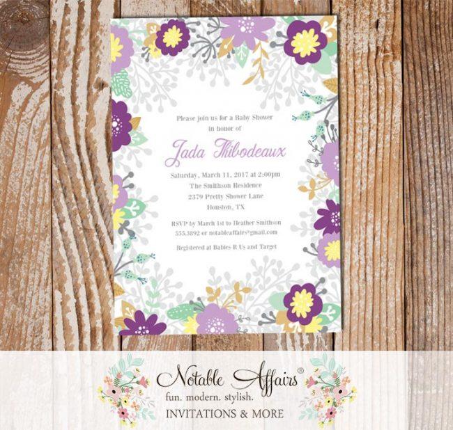 Lavender Dark Purple Flowers Baby Shower invitation