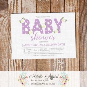 Lavender Flower Posie Modern Floral Baby Shower invitation on gray linen
