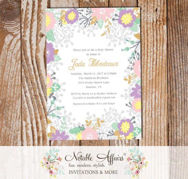 Lavender Light Pink Flowers Baby Shower invitation
