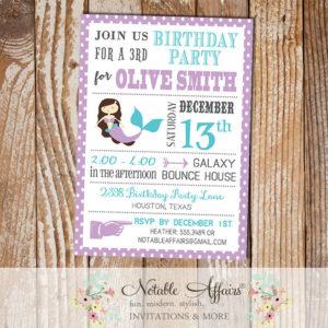Lavender Turquoise Mermaid Polka Dot Border Under the Sea Birthday Invitation