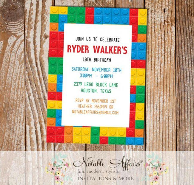 Lego Blocks Birthday Party invitation