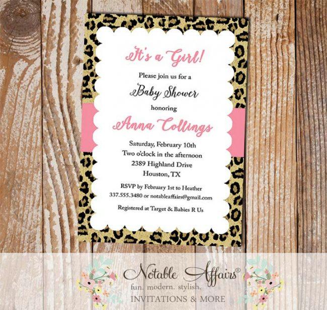 Leopard Print Border Scalloped Invitation
