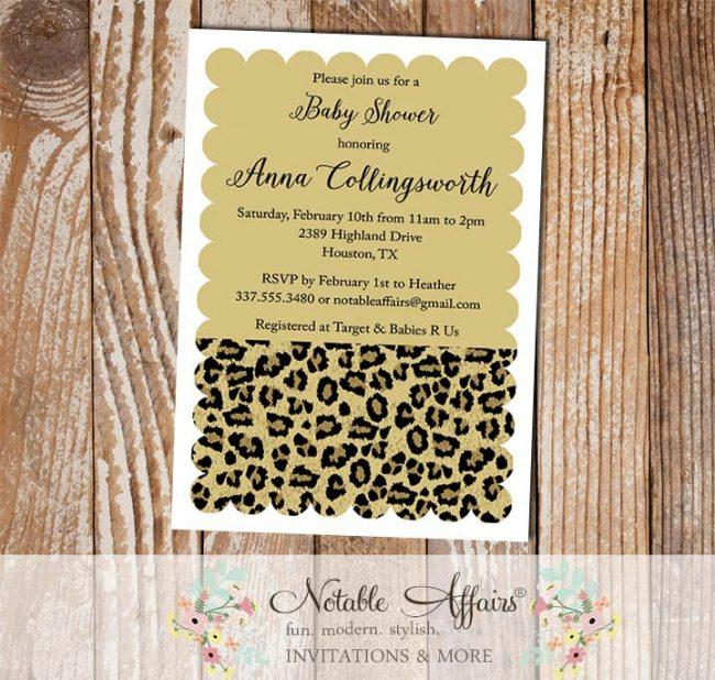 Leopard Print Scalloped Invitation