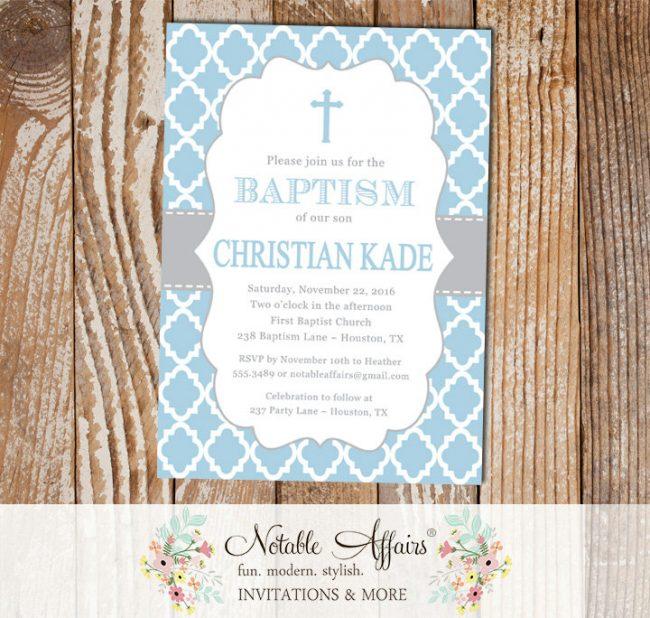Light Blue and Gray Quatrefoil Christening Invitation Cross Baptism