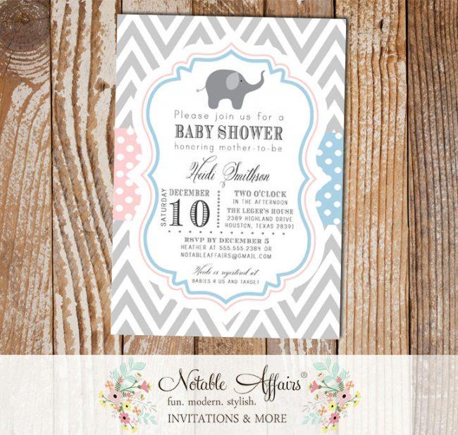 Light Blue and Light Pink Chevron Polka Dots Elephant Modern Baby Shower Gender Reveal Party Invitation