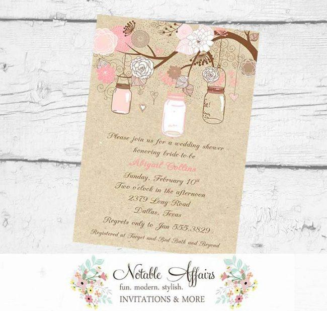 Light Brown Blush Pink Light Pink Rustic Vintage Elegant Kraft Floral Mason Jars Bridal Wedding or Baby Shower Invitation no color changes