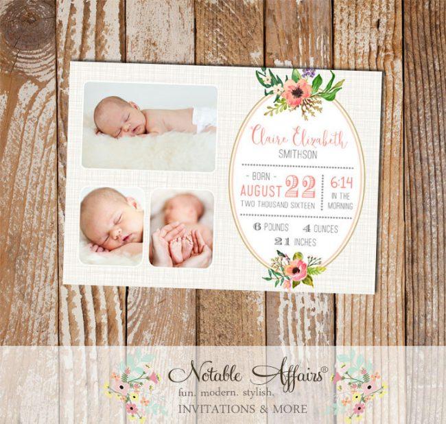 Light Brown Linen Watercolor Floral Posie Wreath Photo Birth Announcement card