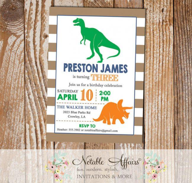 Light brown stripes dinosaurs modern birthday party invitation