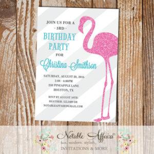 Light gray diagonal stripes Flamingo Birthday Party Invitation