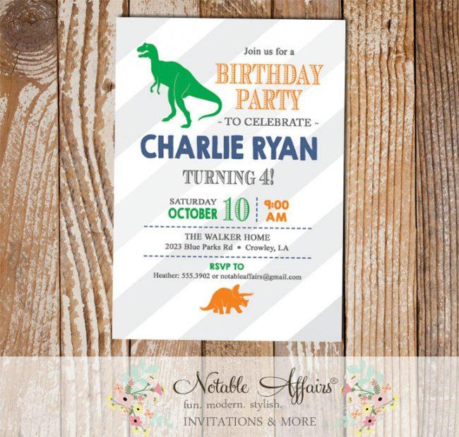 Light gray large diagonal stripes dinosaurs modern birthday party invitation