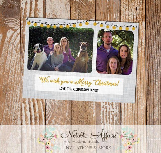 Light Gray Linen Black and Gold Christmas Lights Christmas Photo Card