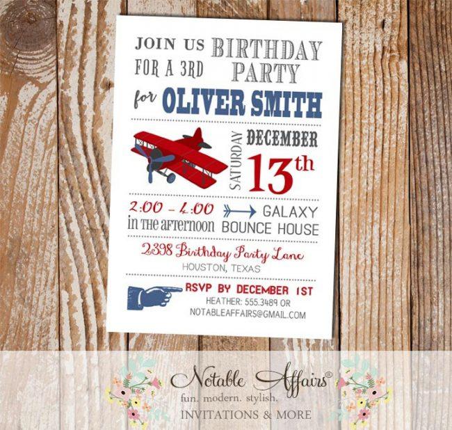Light Navy and Dark Red Airplane Modern Birthday Invitation