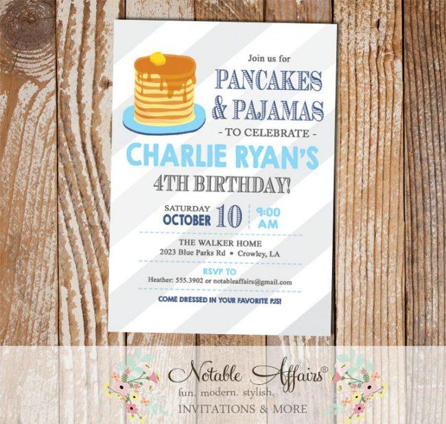Light Navy and Ice Blue Pajamas and Pancakes diagonal stripes Birthday Party invitation