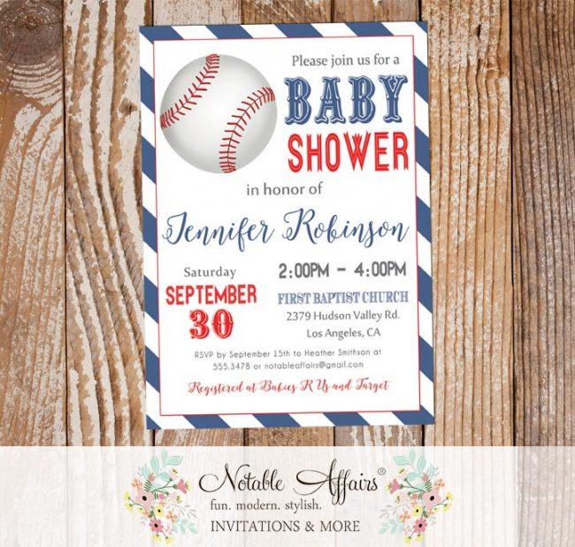 Light Navy and Red Diagonal Stripes Modern Baseball Baby Shower Invitation