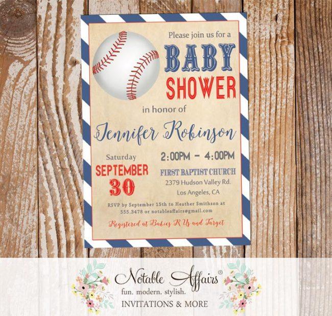 Light Navy and Red Vintage Diagonal Stripes Modern Baseball Baby Shower Invitation All Star Baby Shower Little Slugger Baseball Baby Shower