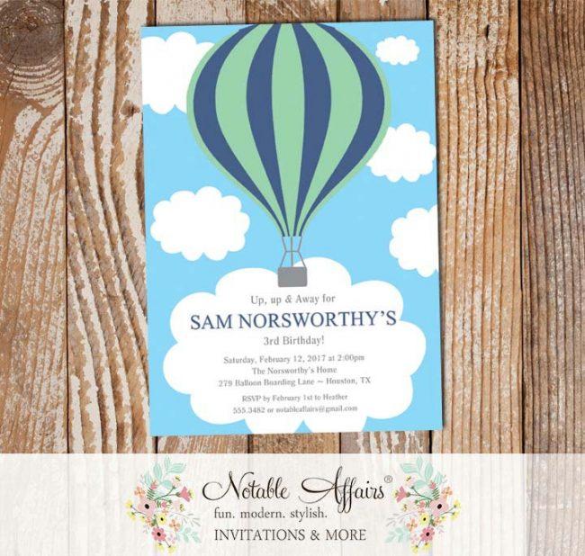 Light Navy Mint Hot Air Balloon Birthday invitation on clouds