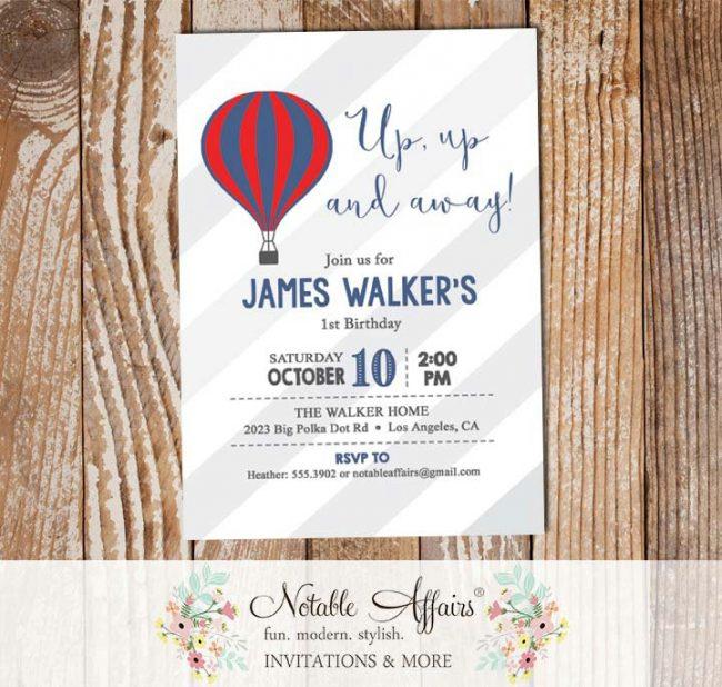 Light Navy Red Hot Air Balloon stripes Birthday invitation