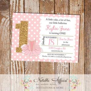 Light Pink and Gold  Glitter Ballet Ballerina Tutu Pink Birthday Party Invitation
