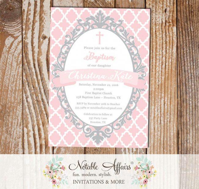 Light Pink and Gray Quatrefoil Ornate Christening Invitation Baptism