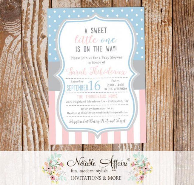 Light Pink Baby Blue Vertical Stripes Polka Dots Gender Neutral Baby Shower invitation