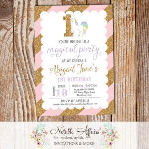 Light Pink Gold glitter Stripes unicorn number pastel invitation