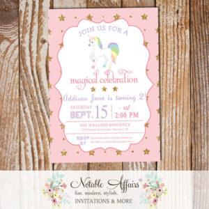Light Pink Gold glitter unicorn stars pastel invitation