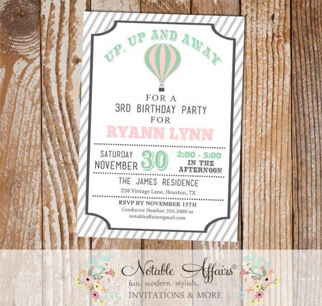 Light pink Mint and Gray Hot Air Balloon Birthday invitation