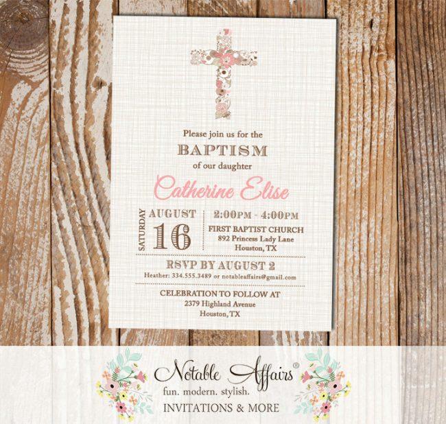 Light Pink Modern Floral Cross Christening Invitation Baptism