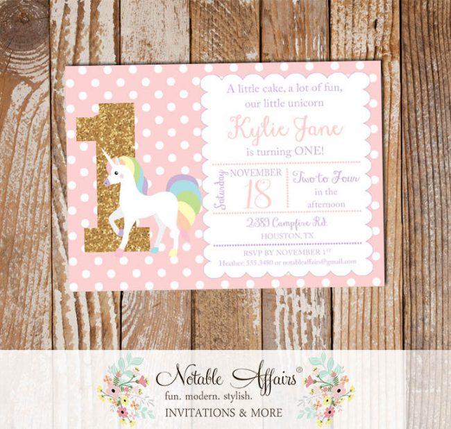 Light Pink Polka Dots Gold glitter unicorn number pastel invitation
